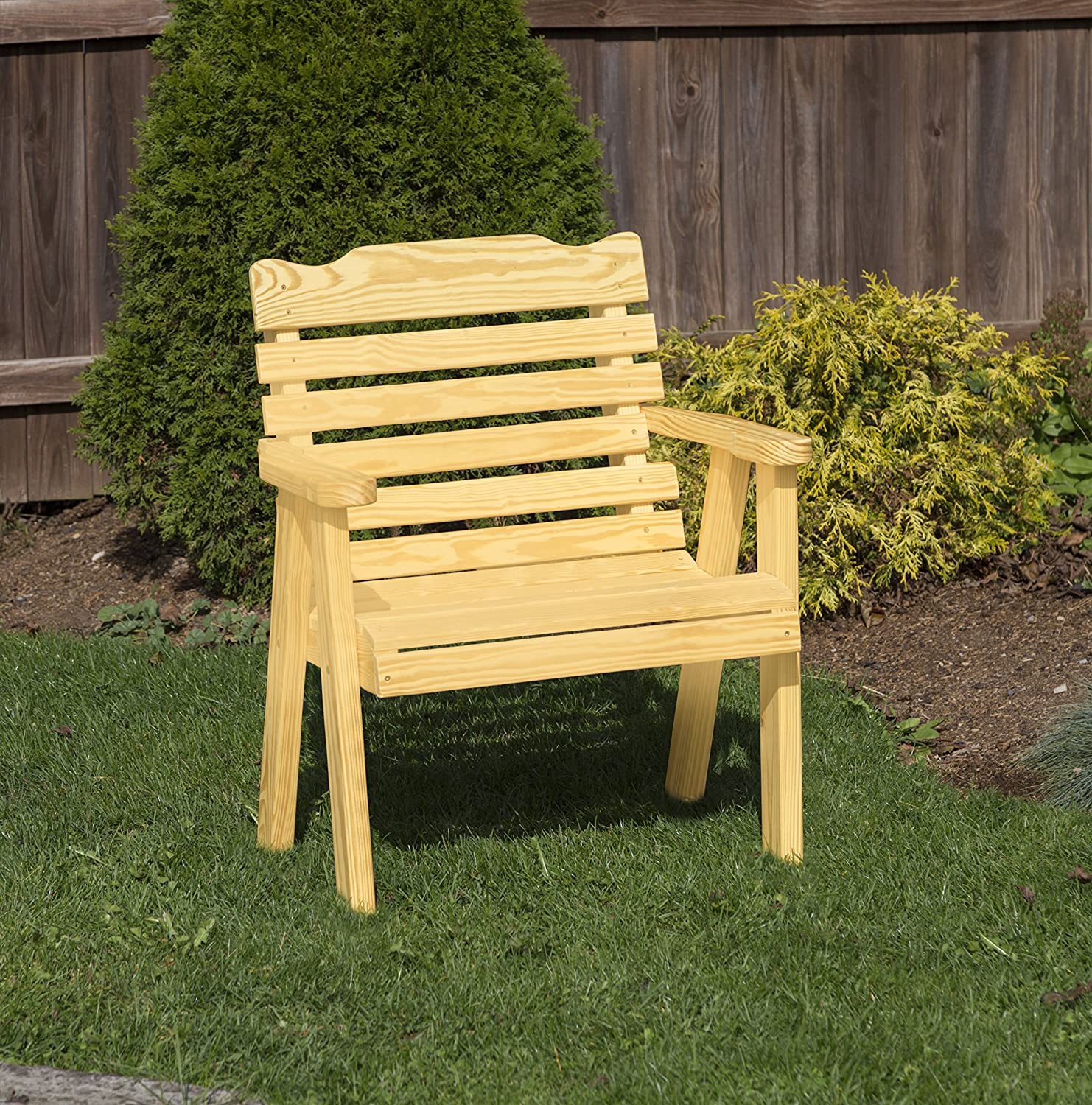 Amish Heavy Duty 800 Lb Classic Park Style Pressure Treated Garden Patio Outdoor Bench Chair 2 FEET Gold-Made in USA