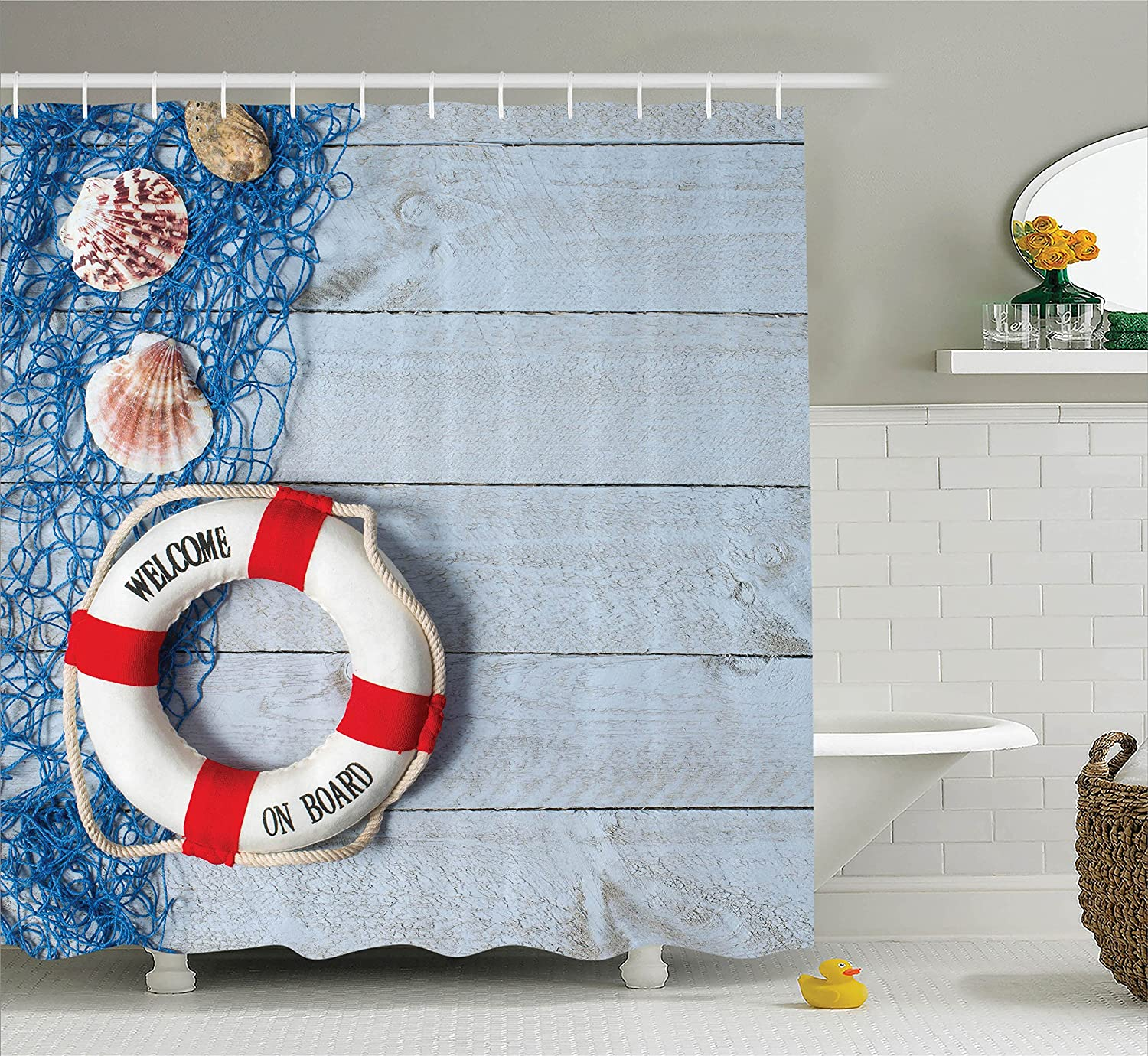 Amazon.com: Buoy Decor Shower Curtain Set By Ambesonne, Welcome On ...