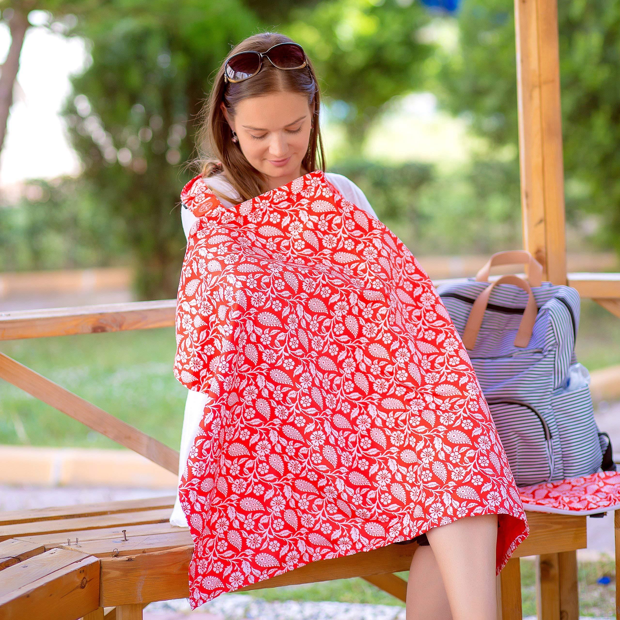 IAMA Complete ❤ New Reversible ❤ Nursing Cover Up 100% Cotton Hypoallergenic Breastfeeding Nursing Cover Bonus One of A Kind Travel Bag for Infant Nursing Cover