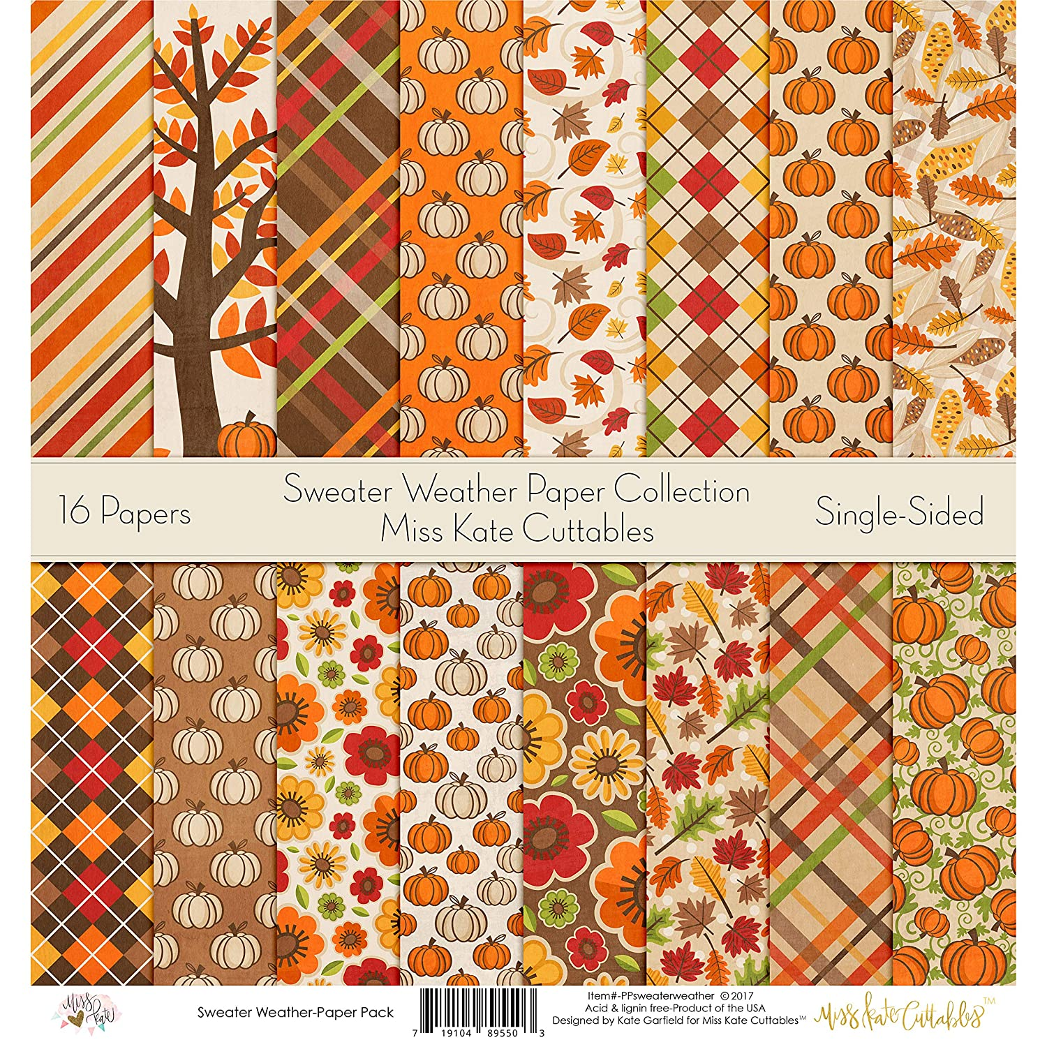 Pattern Paper Pack - Sweater Weather - Scrapbook Card Stock Single-Sided 12x12 Collection Includes 16 Sheets - by Miss Kate Cuttables