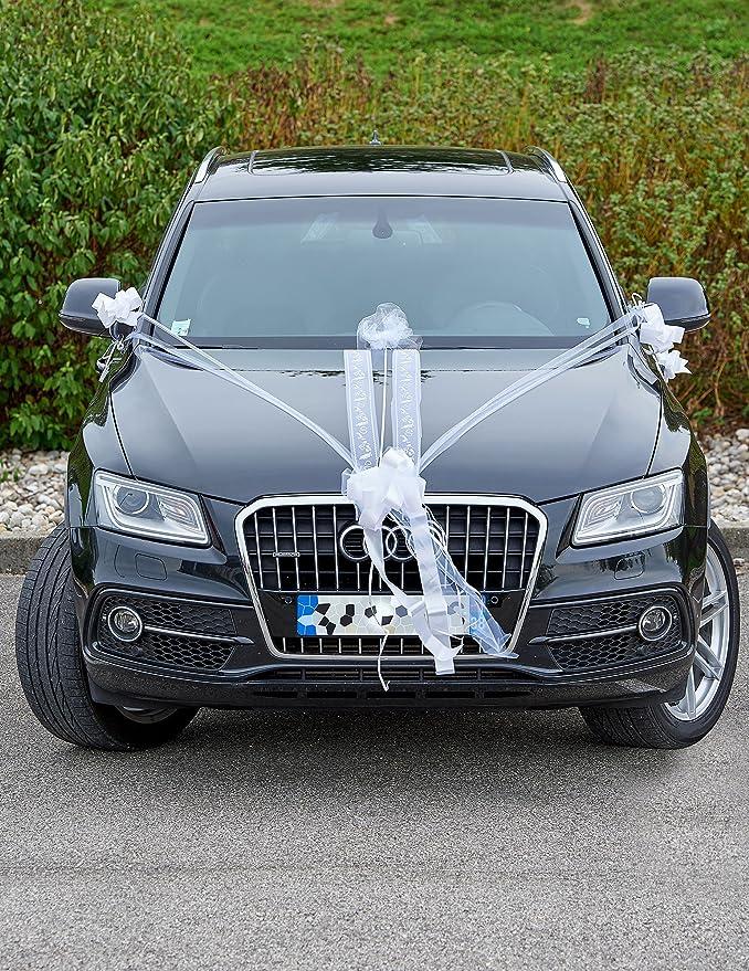 Cinta de lazo Cinta Coccarde copos Matrimonio coche decoración kit blanco (9 unidades): Amazon.es: Juguetes y juegos