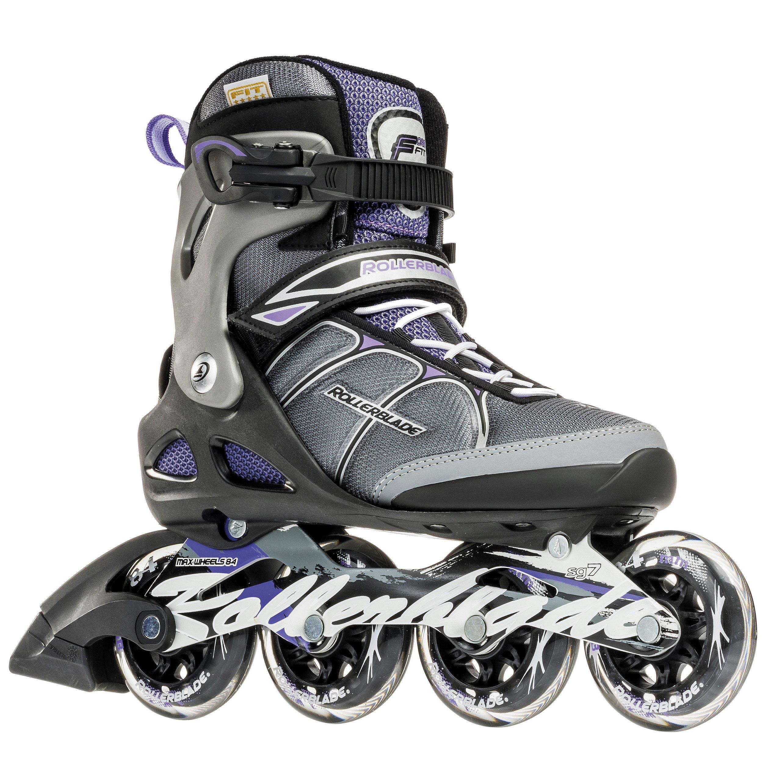 Rollerblade Macroblade 84W Alu 2016 Fitness/Workout Skate, Black/Purple, US Size 9 by Rollerblade
