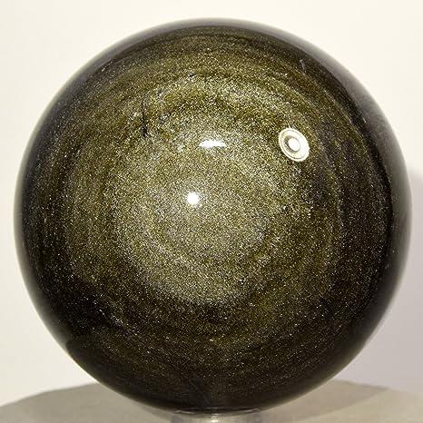 65 mm oro Sheen Obsidian esfera Mineral Natural decoración bola pulido cristal brillante piedra – México
