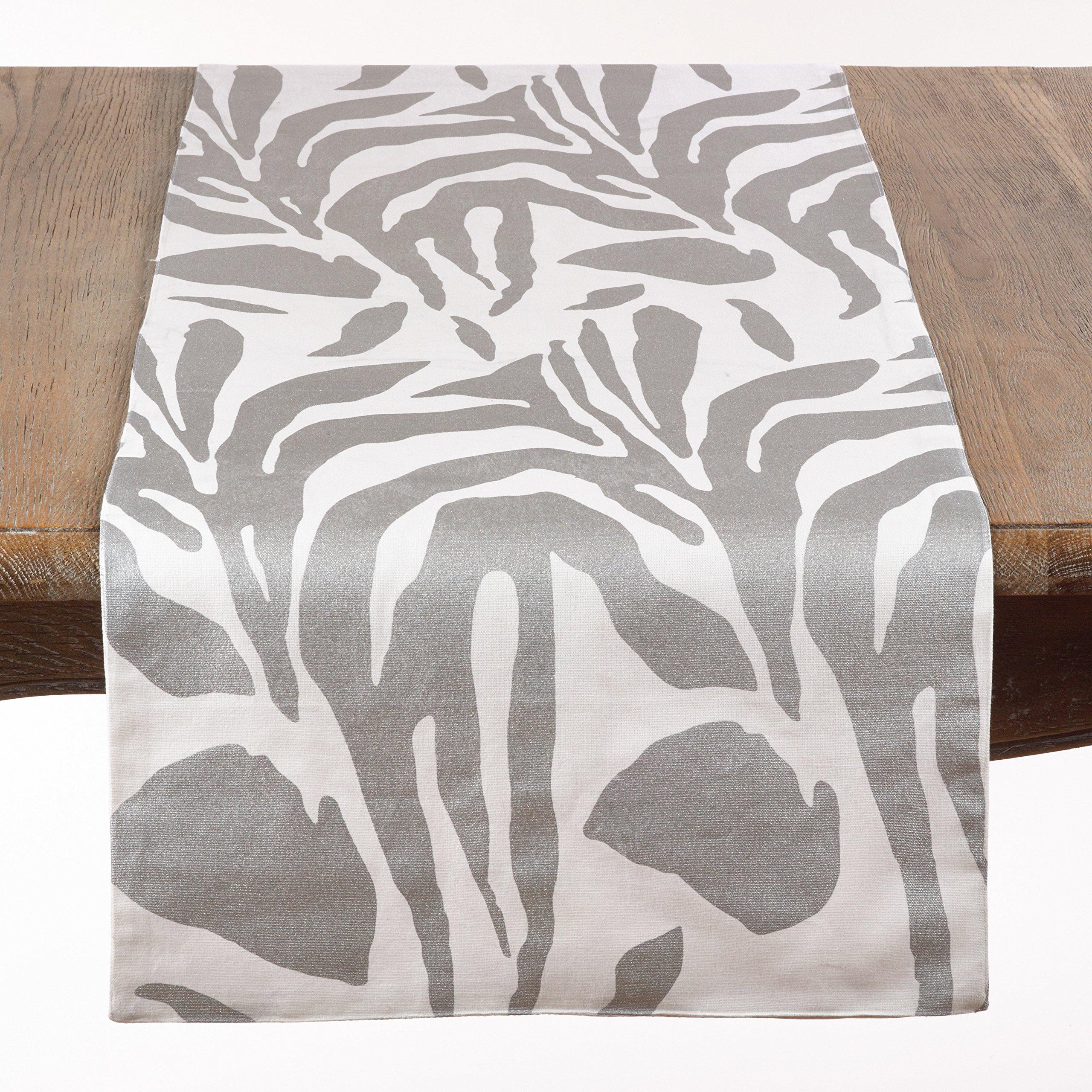 Malawi Animal Print Cotton Table Runner, 16''x72'' (Silver)