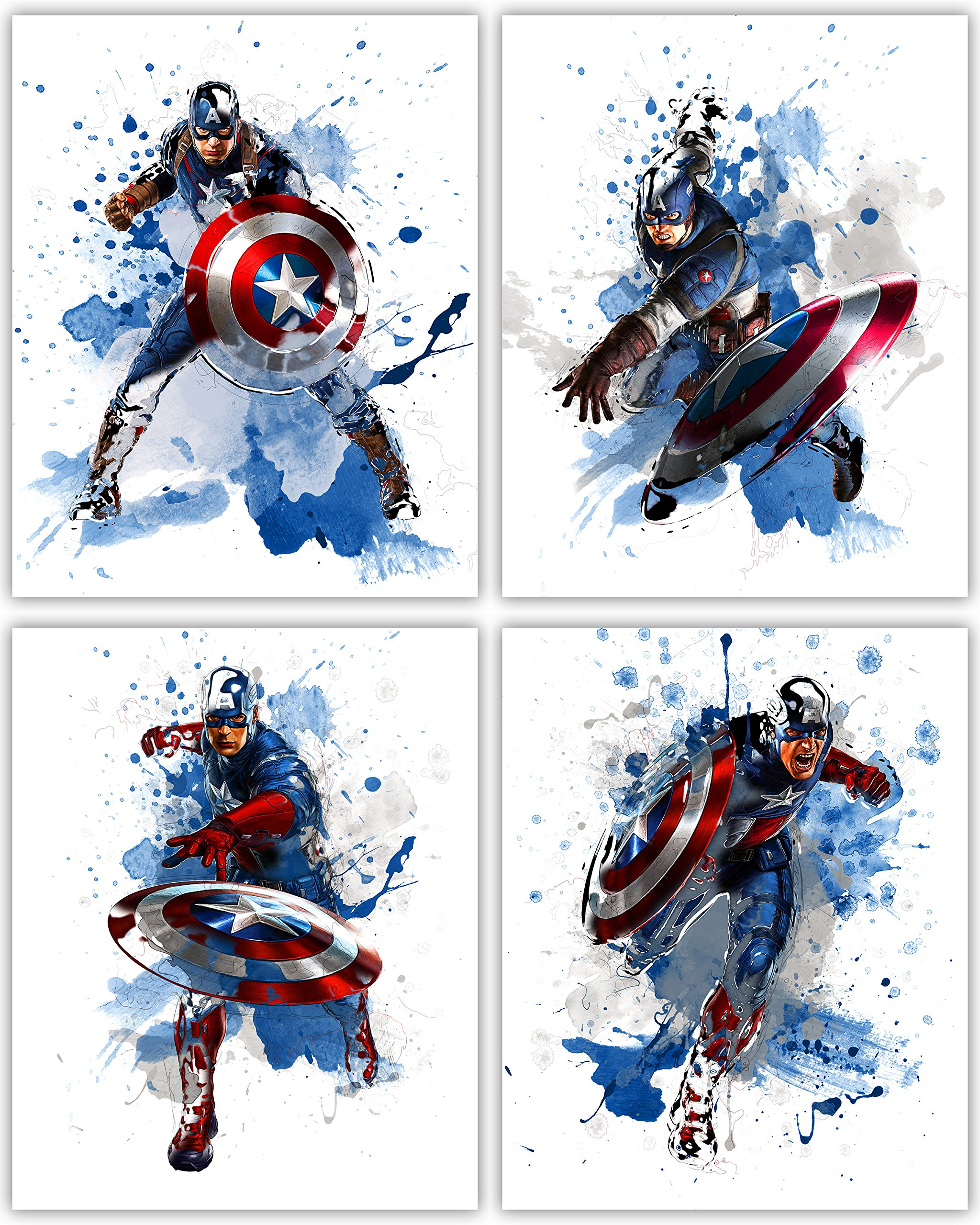 Captain America Wall Decor Collection - The First Avenger in our Wall Art Movie Poster Print Series - Set of 4 8x10 Photos by Tangible Prints