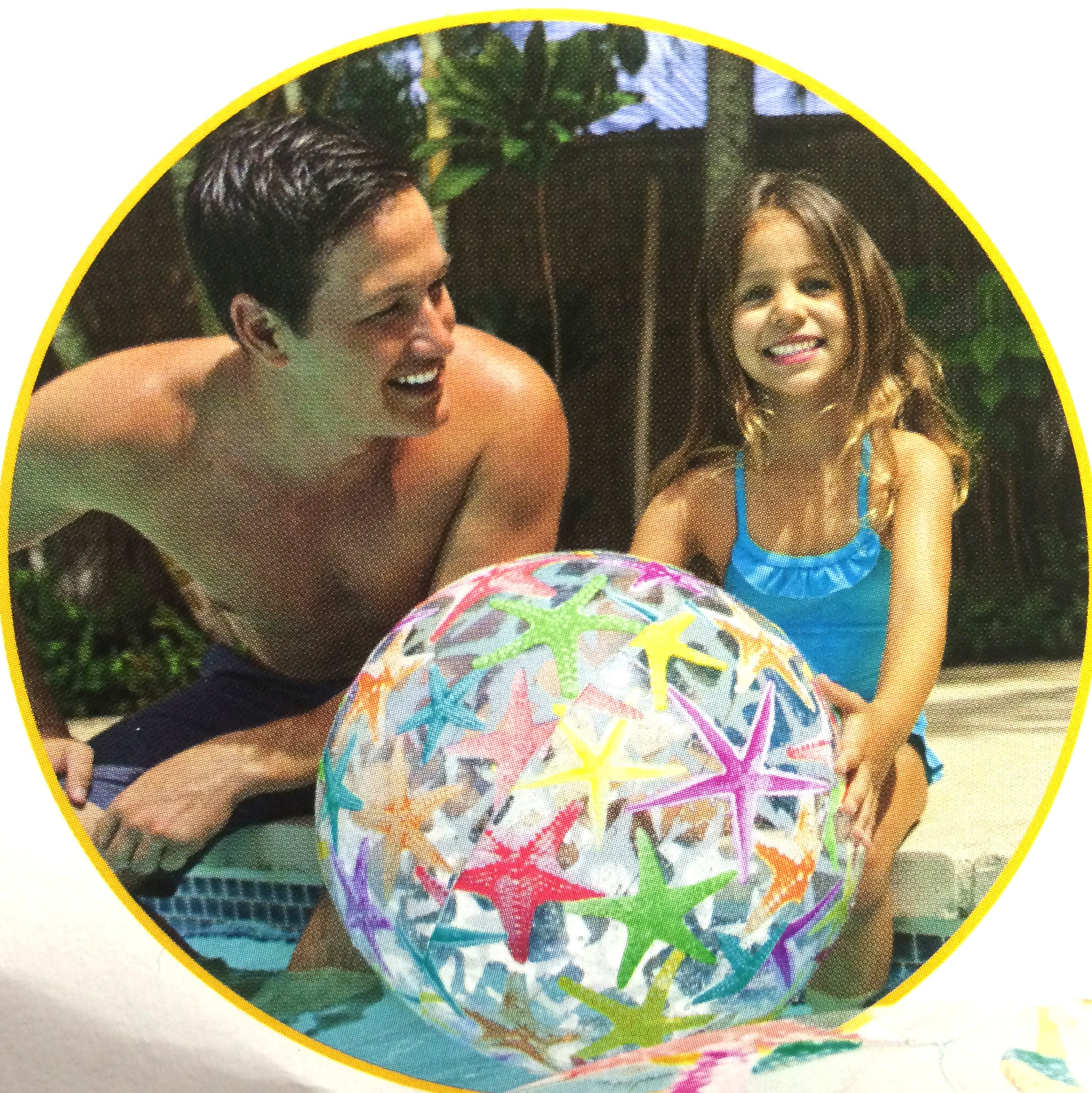3 ALAZCO BEACH BALL LARGE 24'' Inflatable , Cute Colorful Design (fish, Starfish, Octopus, Circles & Flowers) For Summer Pool Party Fun Games & Activities at The Beach or Lake For Adult & Kids by ALAZCO