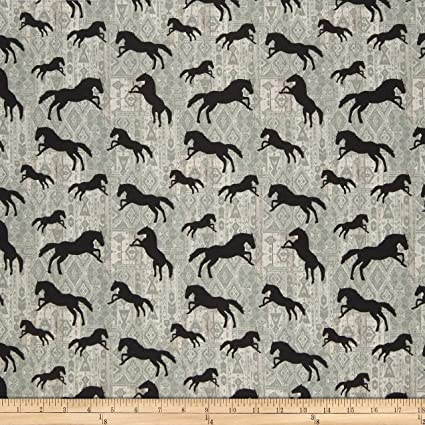 Amazoncom Benartex Born To Run Horses Silhouette Grey Fabric By