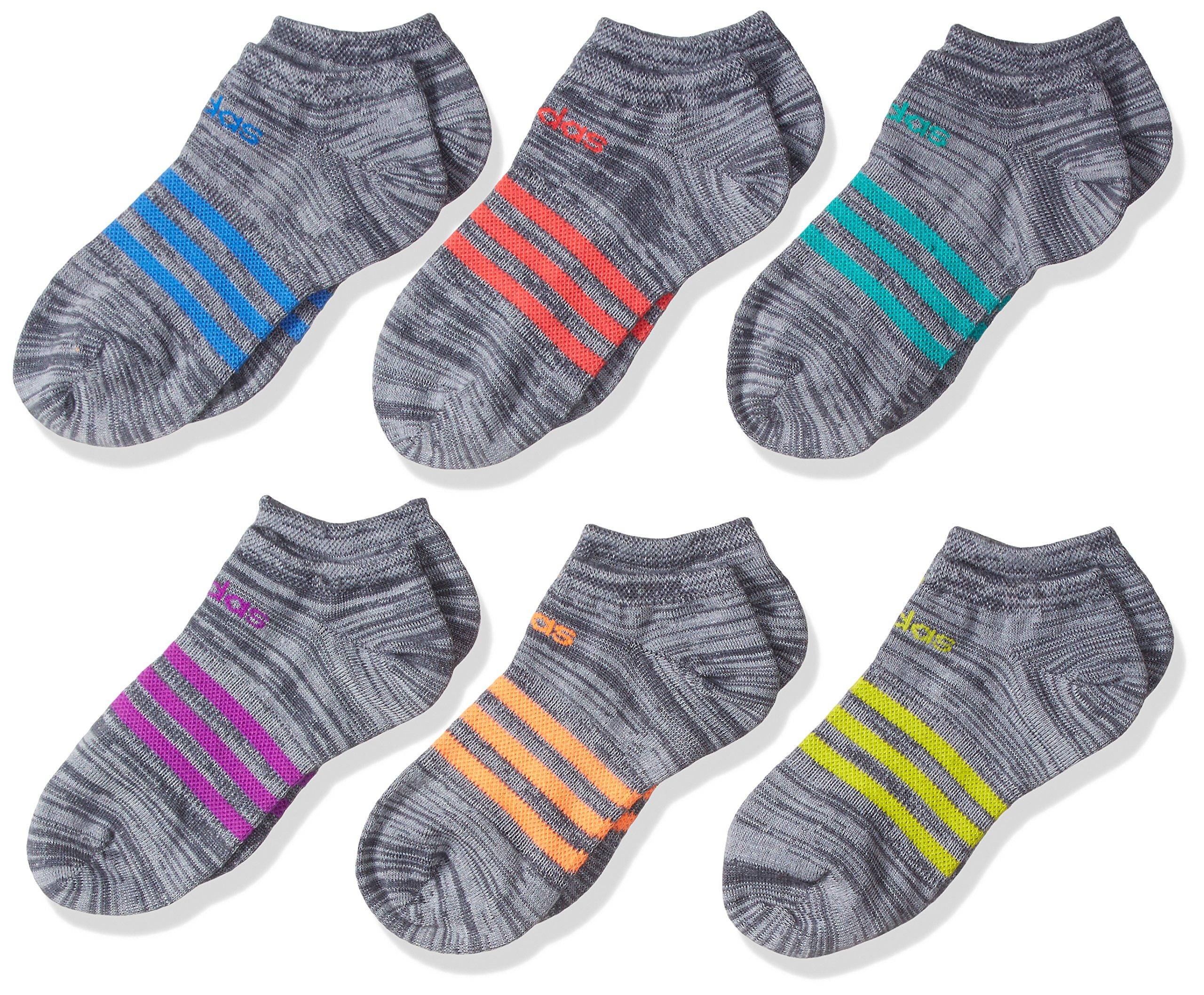 adidas Girls Superlite No Show Socks (6 Pack), Onix Clear/Purple/Glow Orange/Ray Blue/Red/Green, Medium