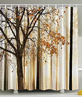 Shower Curtain Fall Trees Print Mom Gift Ideas Polyester Fabric Hooks Included Orange Ivory Brown