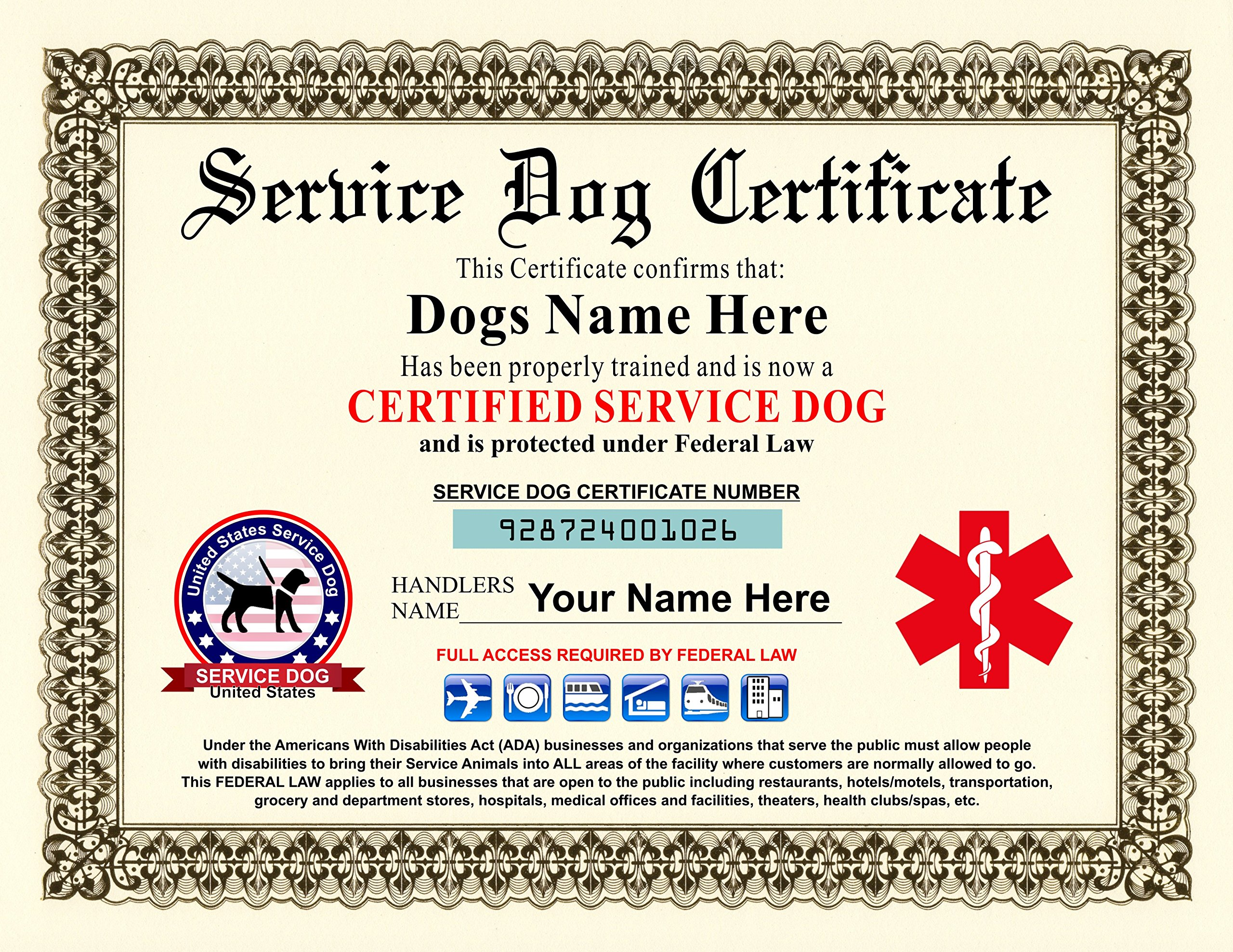 Service Dog Certificate - Customizable with Dogs / Handlers Name