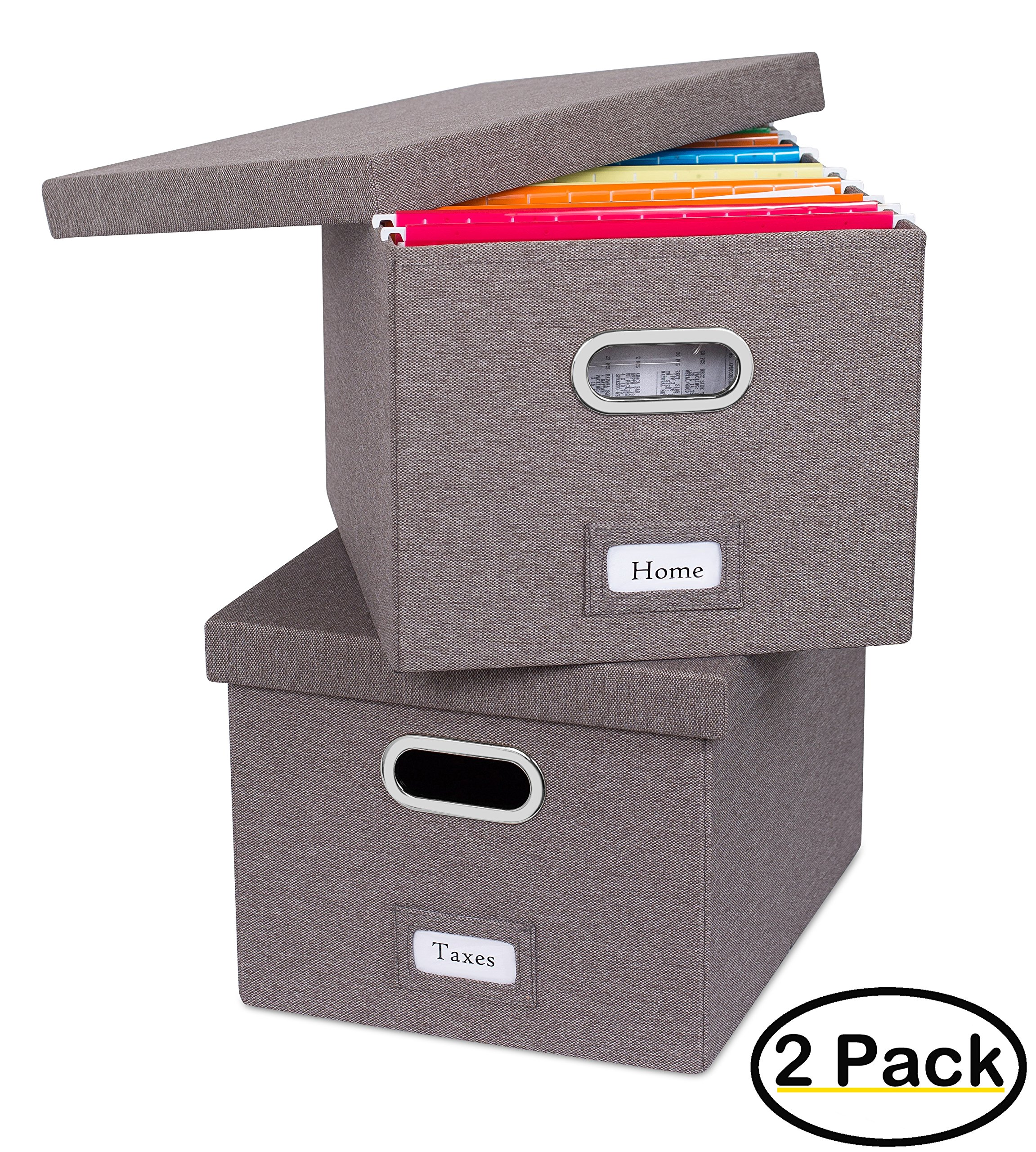 Internet's Best Collapsible File Storage Organizer | Decorative Linen Filing & Storage Office Box | Letter/Legal | Grey | 2 Pack