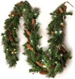 """9 Ft Light-Up Christmas Garland with Pine & Red Cranberries, Battery Operated LED Lights with Timer, 108"""" x 10"""""""