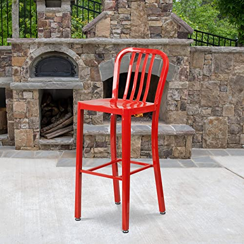 Flash Furniture Commercial Grade 2 Pack 30″ High Red Metal Indoor-Outdoor Barstool