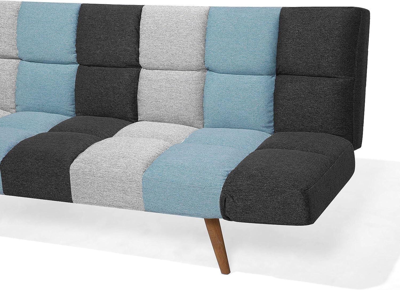Beliani Schlafsofa in skandinavischem Stil klappbar Patchwork grau//blau Ingaro