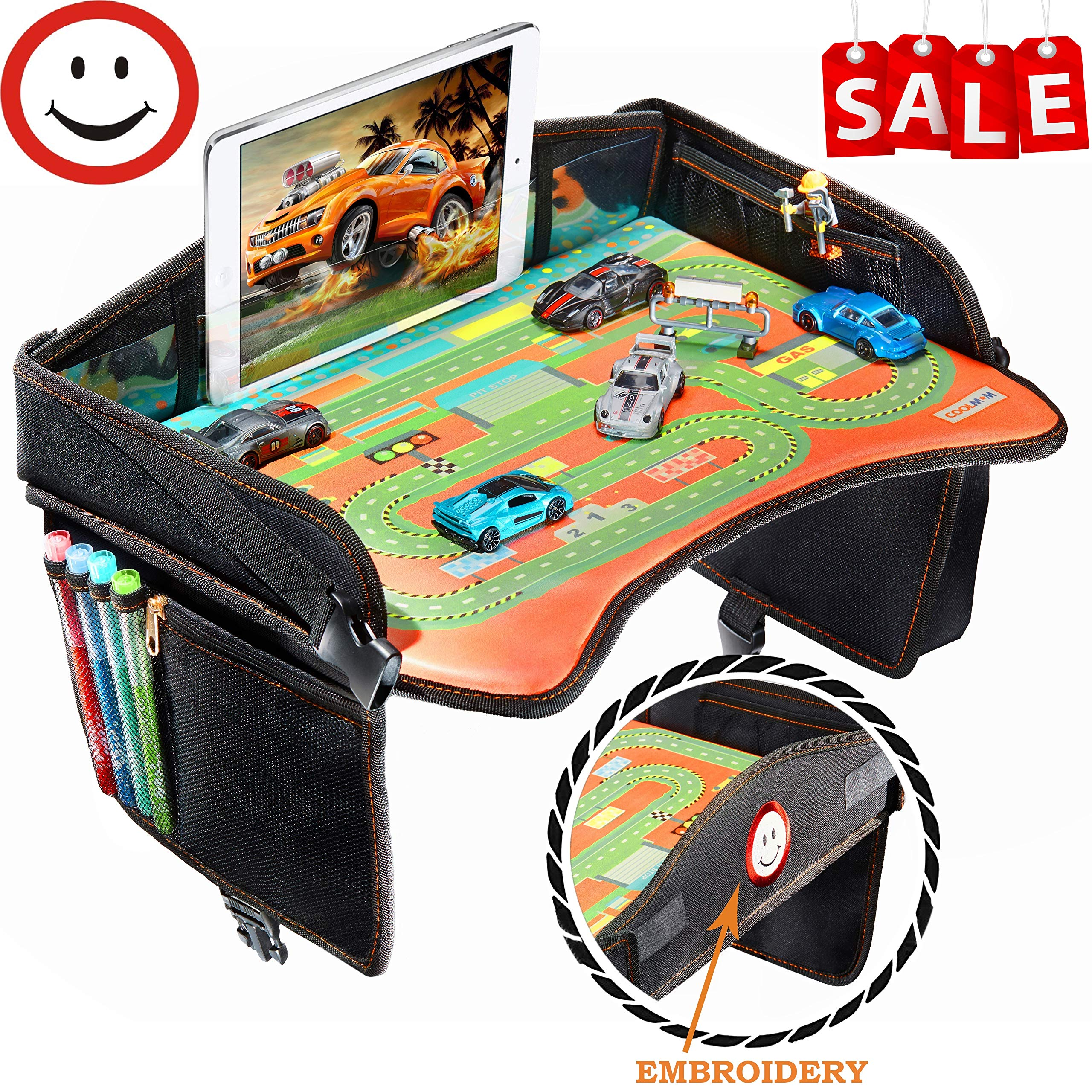 Travel Tray - Ideal as Kids Travel Tray - Toddler Travel Tray & Baby Stroller Tray - Travel Activity Tray & Play Tray - Baby Snack Tray & Kid's Car Seat Tray - Play Table (Premium Black) by Coolmum