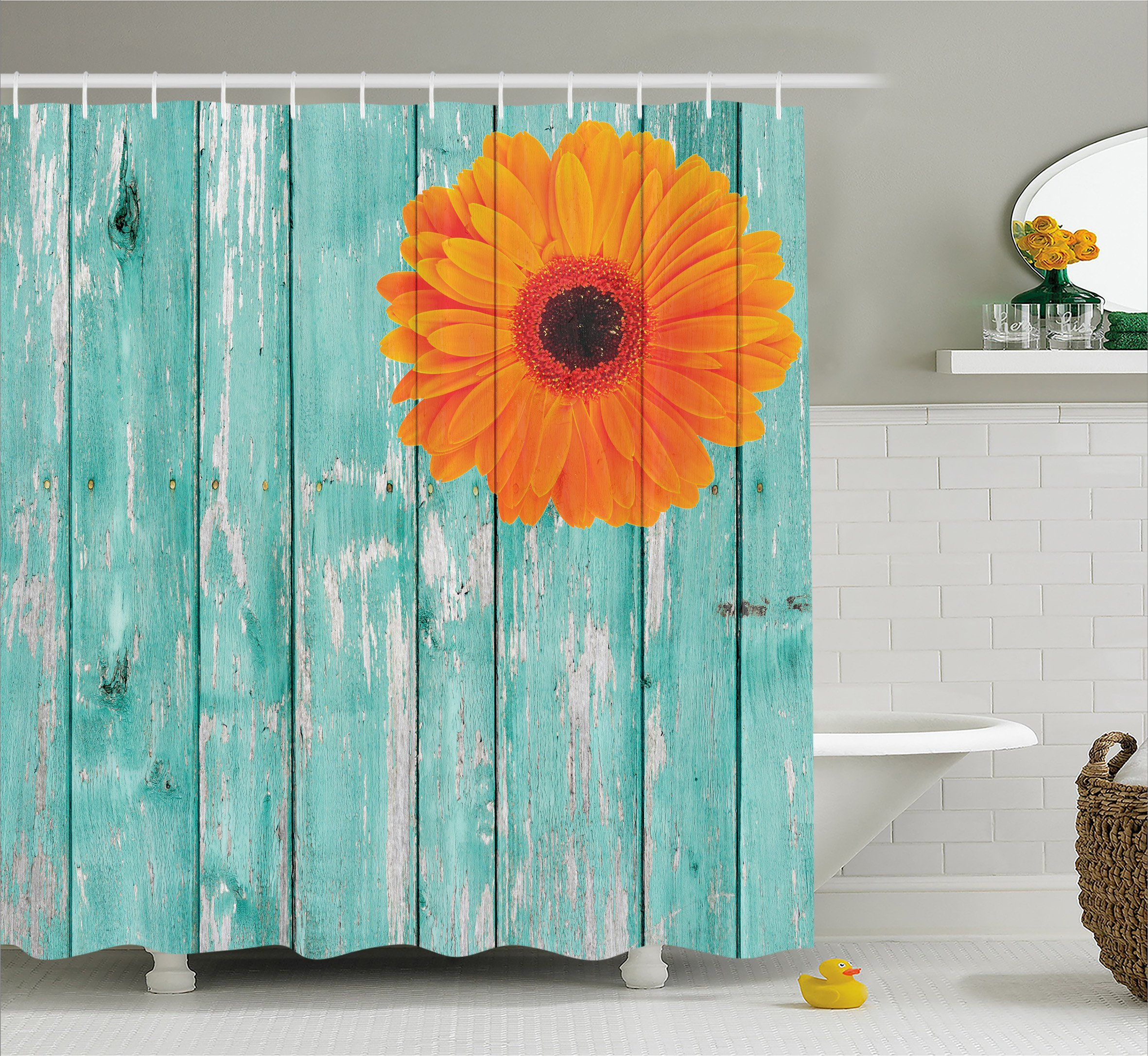 Ambesonne Rustic Barn Decor Shower Curtain Set, Daisy on Vintage Wood Barn Fence Picture Fresh Gerbera Flower Grunge Artsy Print, Bathroom Accessories, Polyester Fabric, 75 Inches Long, Mint Orange - 75 INCHES LONG x 69 INCHES WIDE - High quality Turkish fabric, No liner needed, Includes free hooks MACHINE WASHABLE - Vibrant colors, Clear image, No fading, No dyes harming health of your family WATERPROOF - Mold, mildew and soap resistant, Non vinyl, Non PEVA, Environmentally friendly - shower-curtains, bathroom-linens, bathroom - A1689j ffUL -