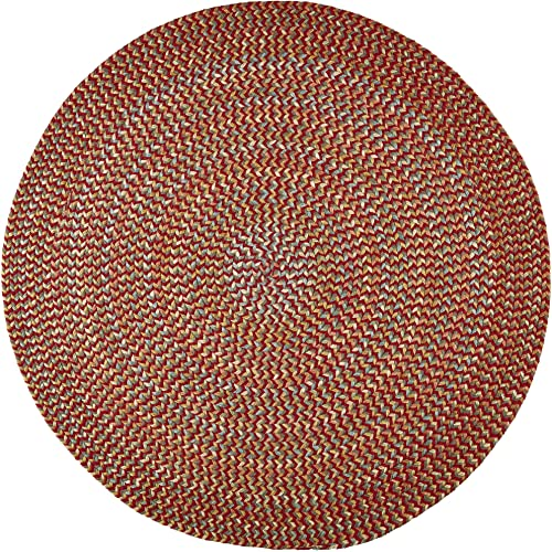 Super Area Rugs Confetti Braided Rug Traditional Rug, Brilliant Red, 10 X 10 Round