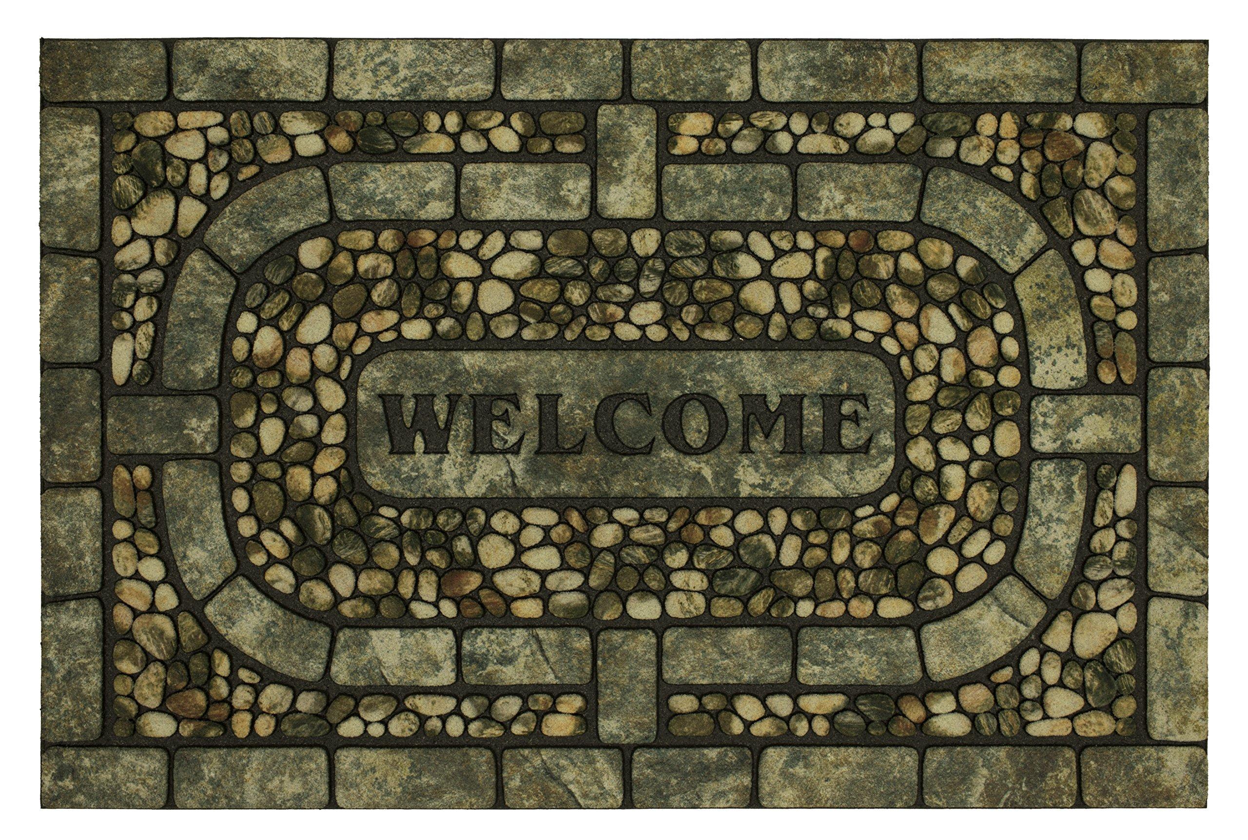 Mohawk Home Doorscapes All Weather Rubber Durable Non Slip Entry Way Indoor/Outdoor Welcome Door Mat, 23 x 35 Inch, Welcome Garden Pebbles Gray