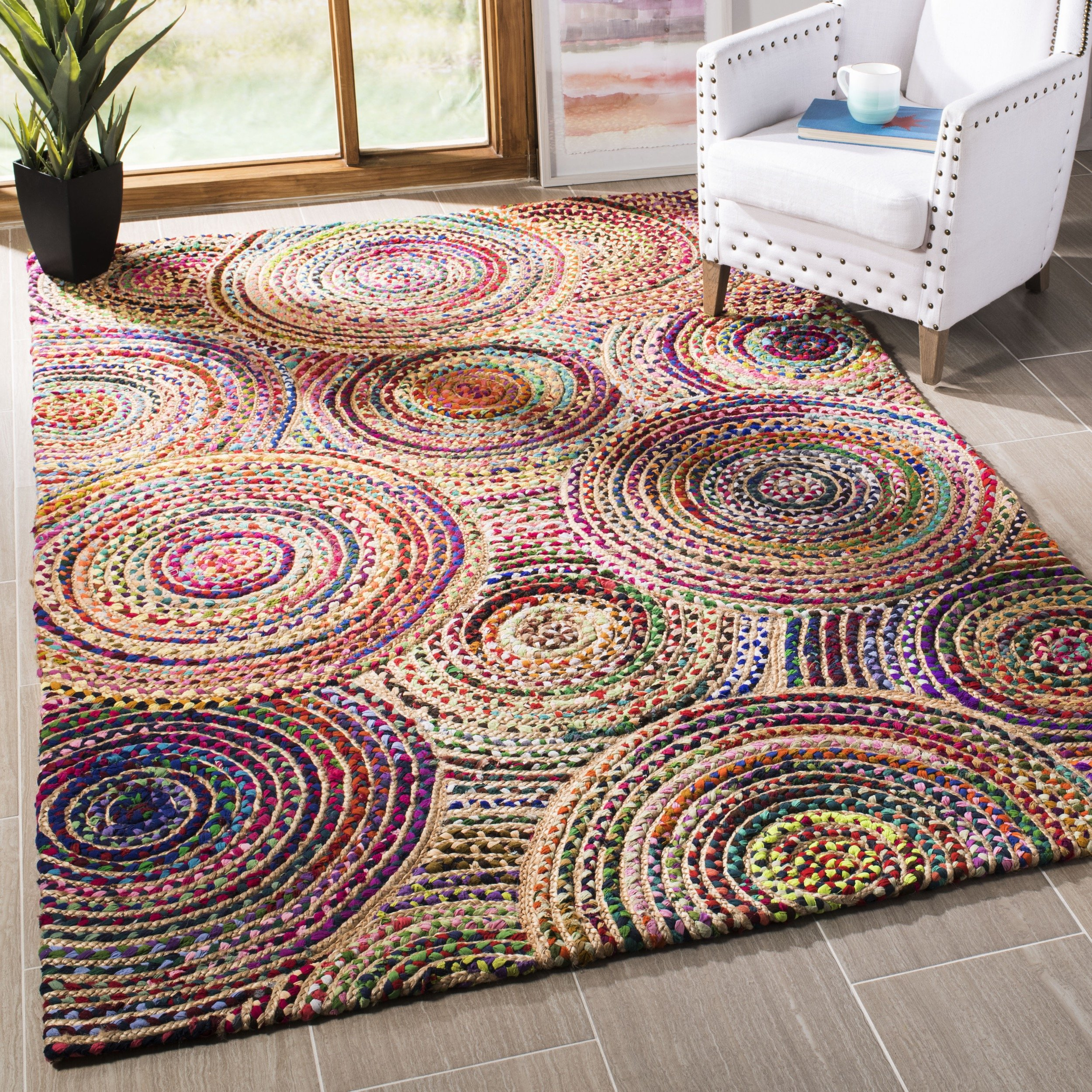 Safavieh CAP604A-3 Cape Cod Collection Flat Weave Handmade Area Rug, 3' x 5', Natural/Multi