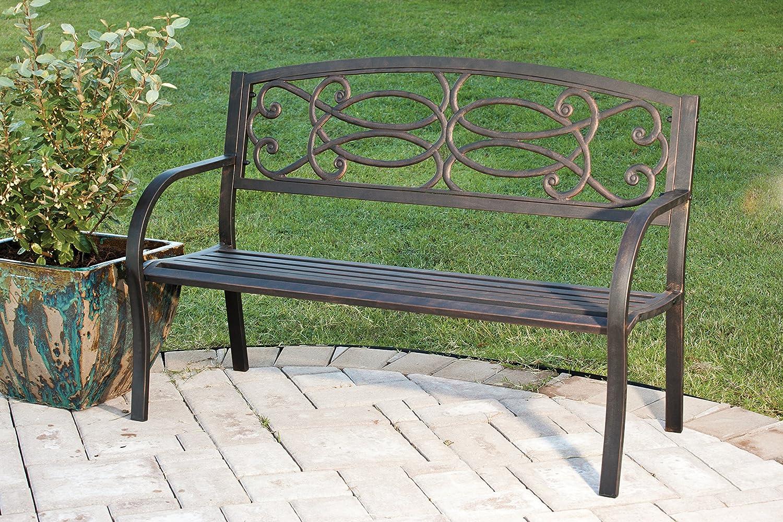 Amazoncom Evergreen Trellis Cast Iron Garden Bench Outdoor