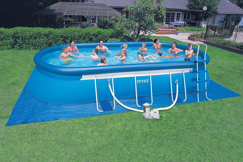 Amazon.com: Intex 24\' x 12\' x 48\'\' Oval Ellipse Easy Frame Pool Set ...