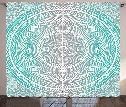 Ambesonne Grey and Aqua Curtains, Ombre Traditional Universe with Tribal Geometric Mandala Artwork, Living Room Bedroom Window Drapes 2 Panel Set, 108 X 84 , Aqua Grey