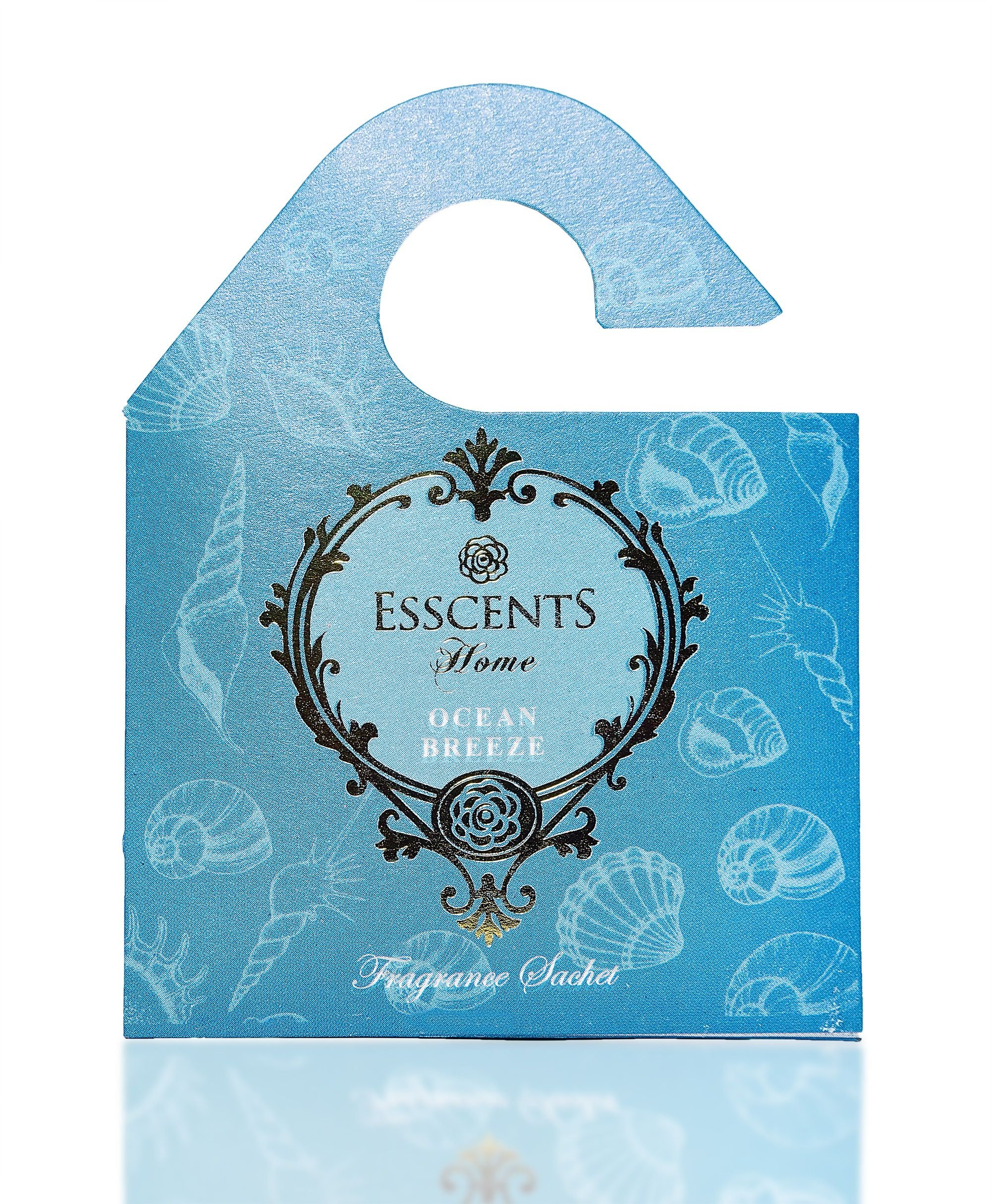Esscents Home Set of 6 Wooden Board Sachets - Naturally Scented and Long Lasting - Jasmine, Lavender, Floral, Ocean, Rose, Sandalwood (Ocean Breeze)