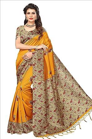 13abc3d1b7 SOFTIEONS E-COMMERCE Women'S Art Silk Saree With Blouse Piece (  Yellow_Srja033_Free Size ) (SOFT_194)[sarees for women latest design, sarees  below 500 ...