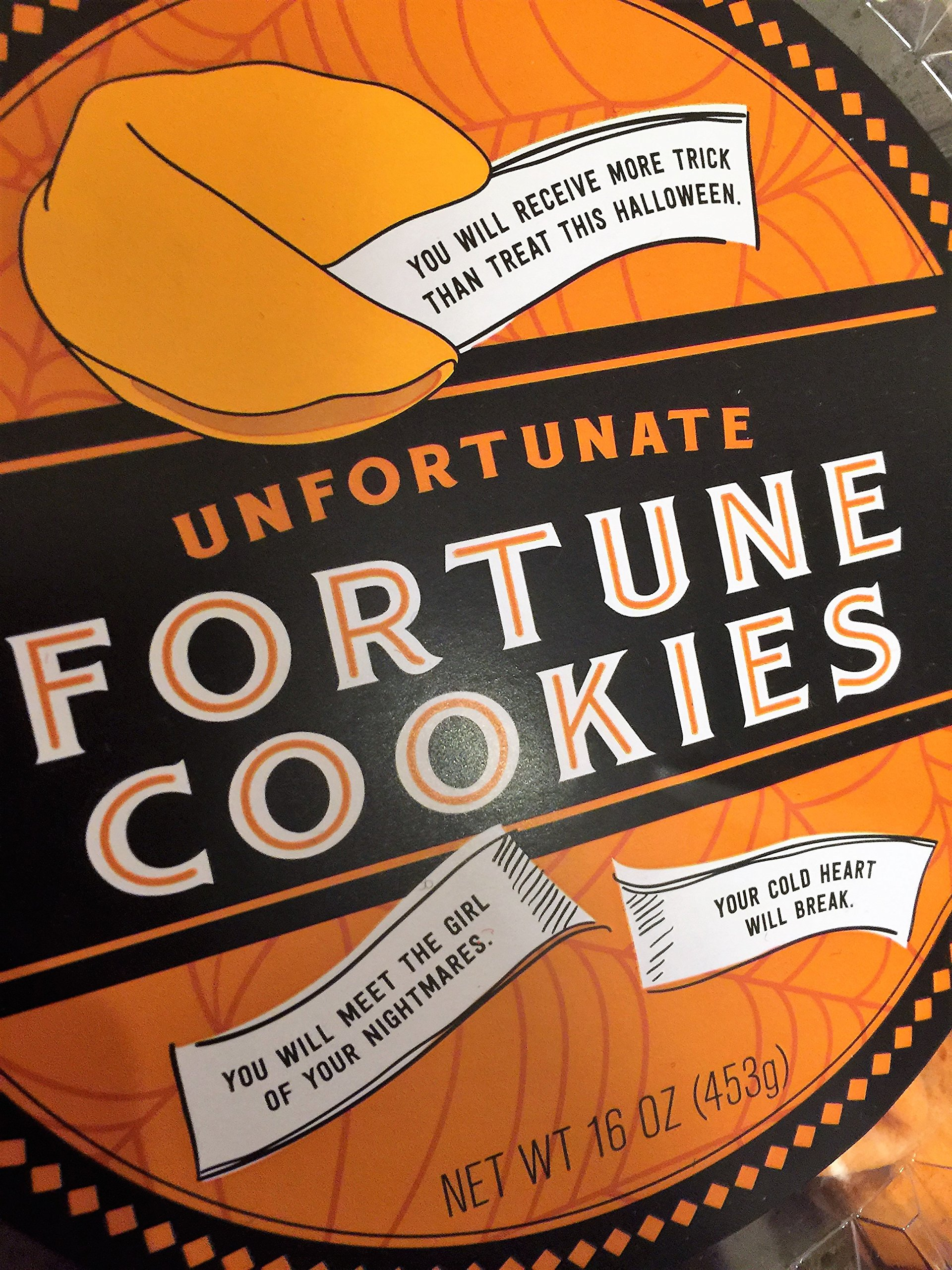 Halloween Unfortunate Fortune Cookies Pack of 50 in Orange and Black with Creepy Unfortunate Messages Inside by World Market