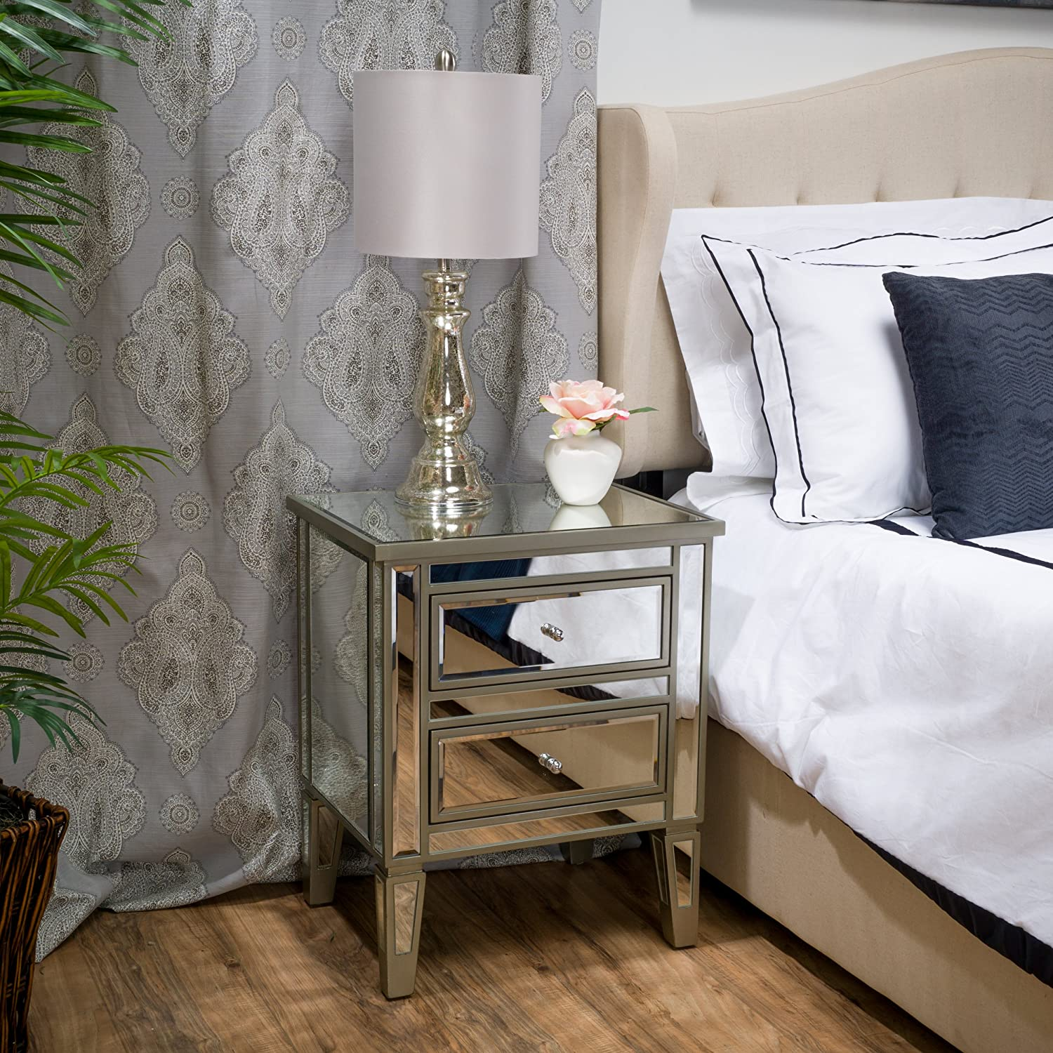 Best Selling A Crafted Mirrored Nightstand Vintage Styling, Standard