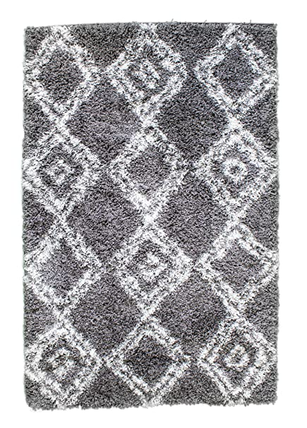 Gray Shag Rug 8x10.Super Area Rugs 8x10 Gray White Bohemian Shag Rug For Open Spaces And Living Rooms Diamond Printed Carpet