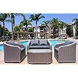 JOYPANDA 4 Piece Outdoor Rattan Wicker Patio Sofa Set with Cushions
