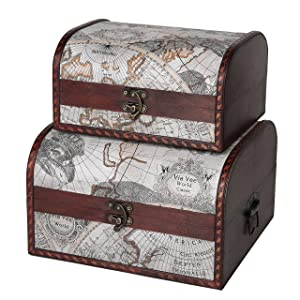 SLPR First Class Wooden Boxes (Set of 2, Old Map) | Vintage Themed Antique Victorian Style Treasure Storage Box for Keepsake Memories Toys Jewelry Decorative Storage Trunk