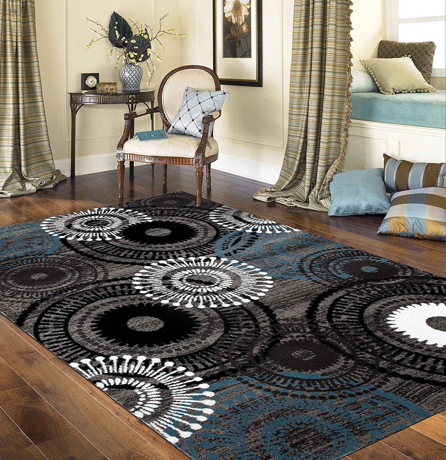 "Rugshop Contemporary Circles Area Rug, 3'3"" x 5'3"", Blue/Gray"