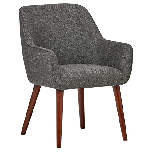 Rivet Julie Mid-Century Modern Slope Accent Kitchen Dining Room Chair, 34 H, Ash Grey
