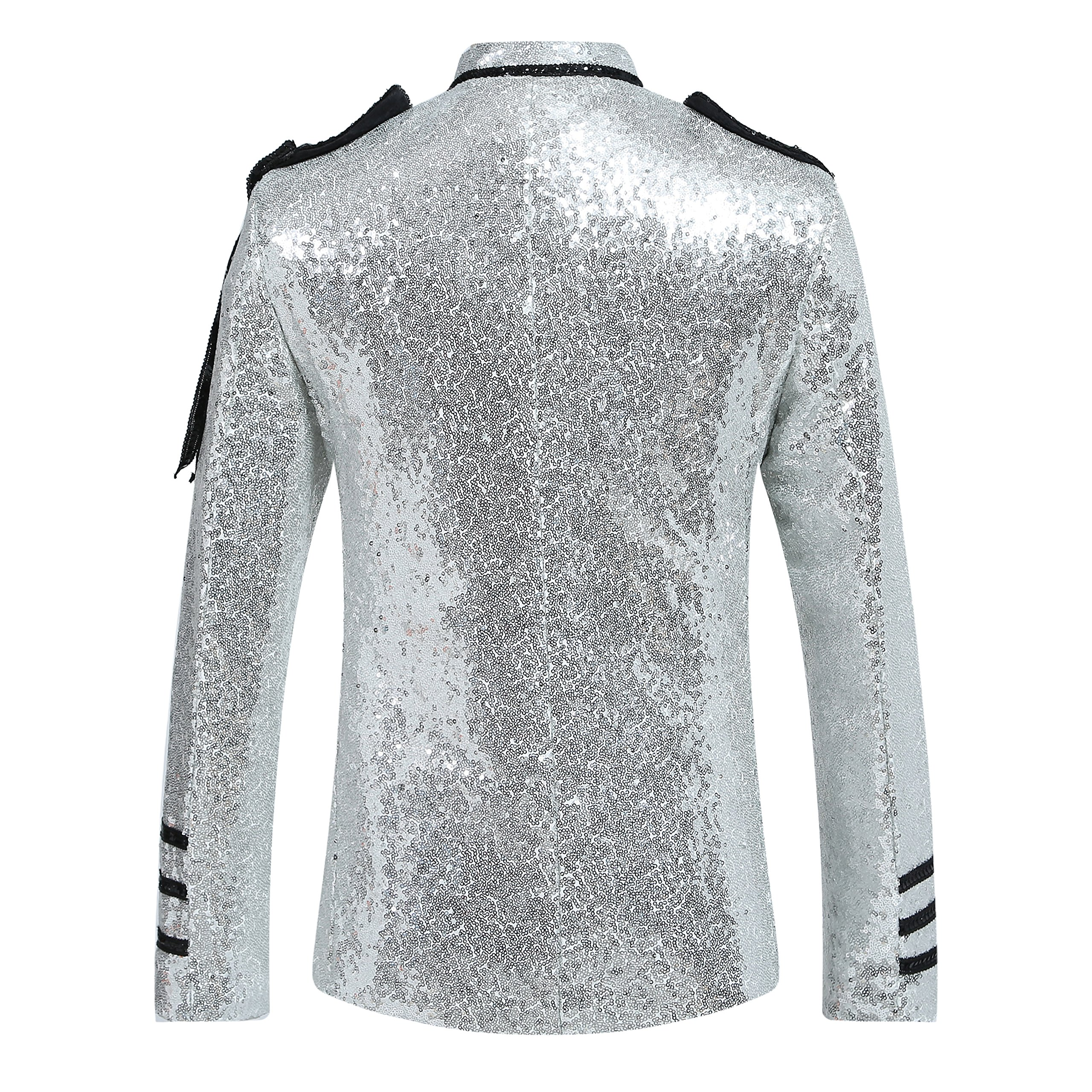 Mens 2-Piece Suit Fashion Sequin Party Prom Dinner Blazer Tuxedo Jacket Trousers,White,Large by Cloudstyle (Image #3)