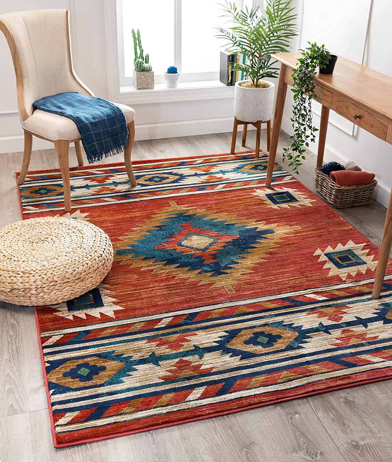 "Well Woven Lizette Red Traditional Medallion Area Rug 5x7 (5'3"" x 7'3"")"