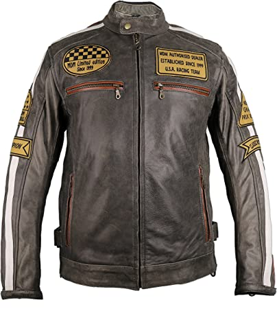 the latest 9eb1b 691bf Giacca di pelle da uomo, per biker, stile rétro multicolore vintage L