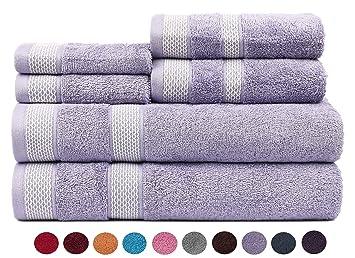 CASA COPENHAGEN Solitaire Colección 600 g/m², Juego de 6 Toallas de algodón (baño, Mano y Cara), Mistic Lavender: Amazon.es: Hogar