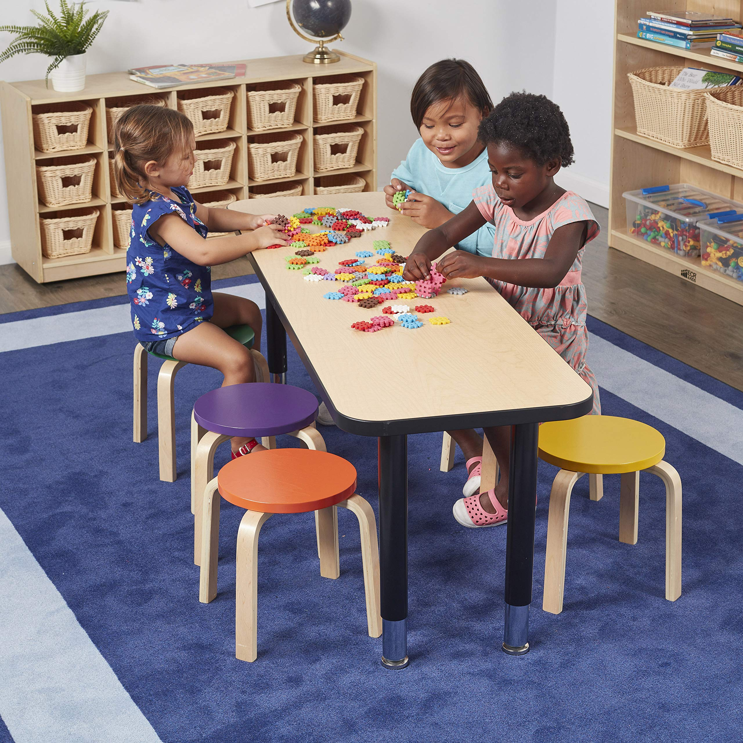 ECR4Kids Bentwood Stacking Stools for Kids, 12'' H, Assorted (6-Piece Set) by ECR4Kids (Image #7)