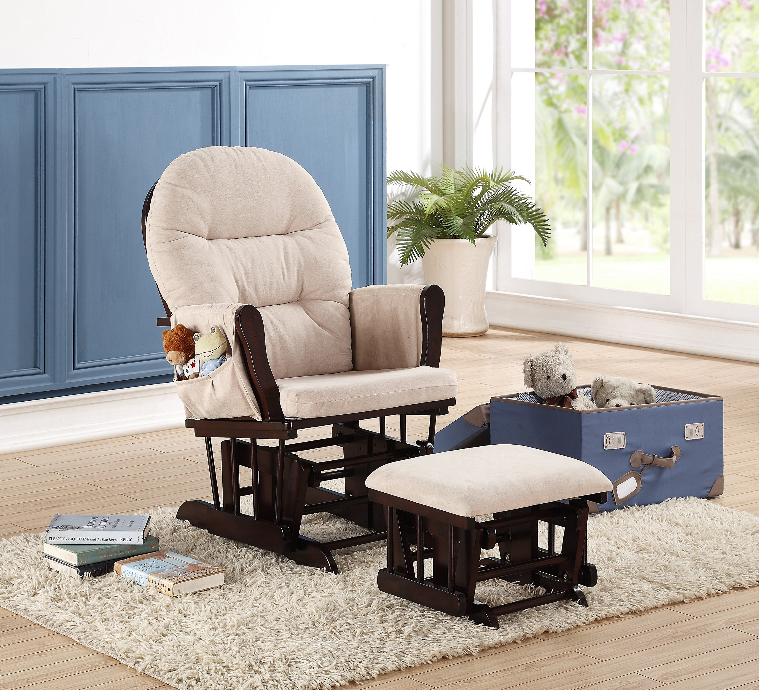 Naomi Home Brisbane Glider & Ottoman Set with Cushion in Cream and Finish in Espresso by Naomi Home