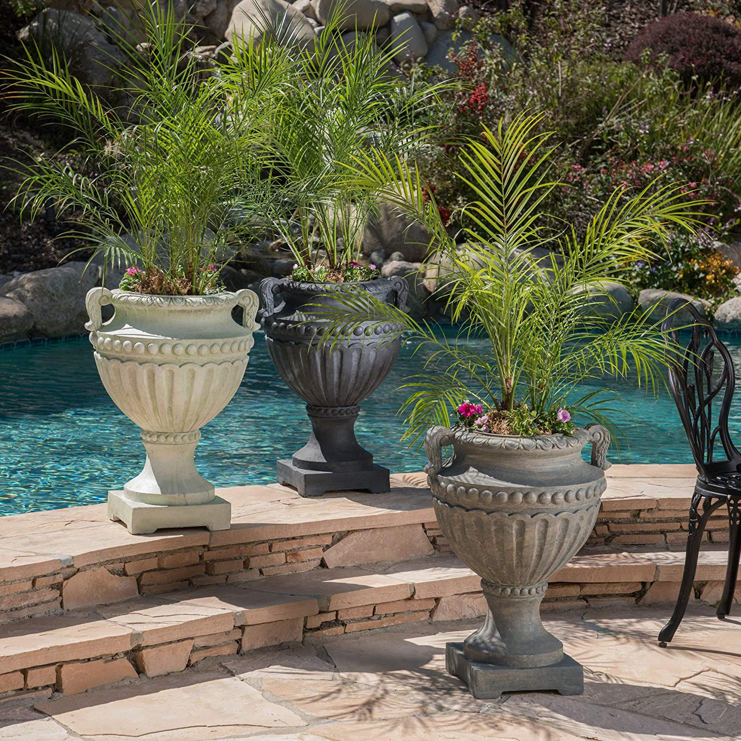 Christopher Knight Home 304070 Alice Outdoor Antique Grey Finish Light Weight Concrete Urn