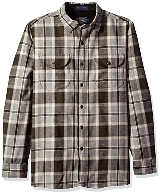 66ea9286 Pendleton Men's Long Sleeve Fitted Buckley Shirt, Brown Silver Mix Plaid,  ...