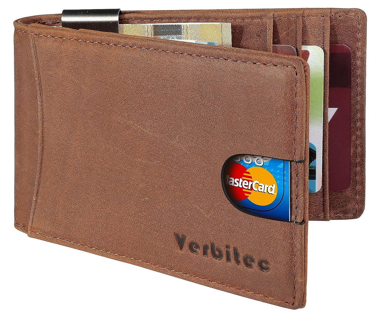 Verbitec Kredit-Kartenetui mit RFID Schutz und Geldklammer - Minimalistisches Portemonnaie aus hochwertigem Echtleder - Kartenhalter in Braun