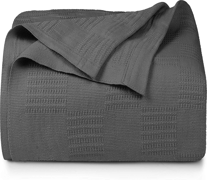 Bedding Premium Summer Cotton Blanket Queen Grey