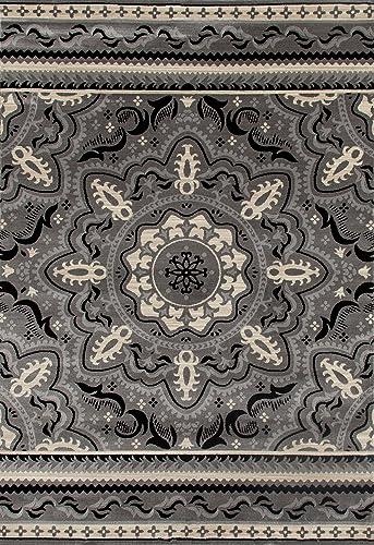 Art Carpet Milan Collection Fanciful Woven Area Rug, 9 2 x 12 6 , Gray Linen Black