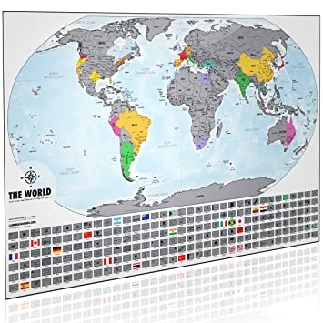 Amazoncom Landmass Scratch Off World Map Print X Made In - Usa world map