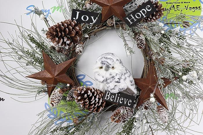 woodland owl christmas wreath grapevine christmas wreath rustic holiday decor christmas wreath owl