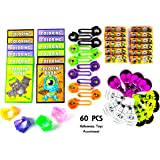 Halloween Party Favor Mega Toy Novelty Assortment; 12 Halloween Disc Shooters, 12 Halloween Crayons, 12 Neon Vampire Teeth, 12 Halloween Fun Coloring Books & 12 Halloween Paddle Ball Games (60 Pcs)