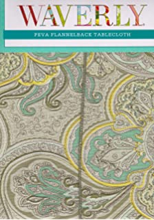 Waverly Paddock Mineral Shawl PEVA Flannel Back Tablecloth, 52x70